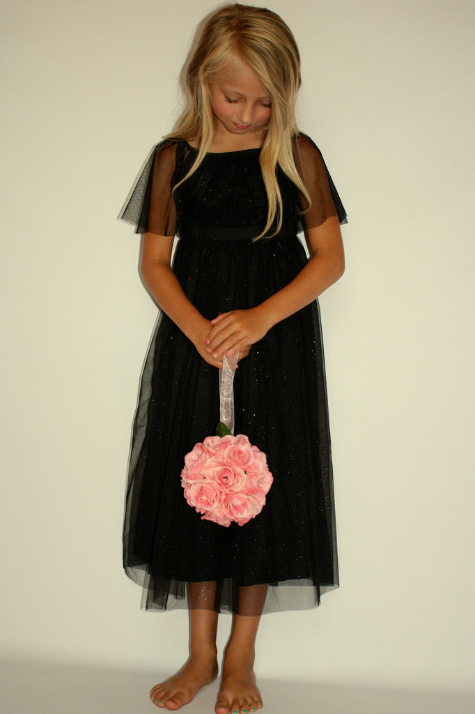 Black Glitter Party Dress by Anais & I Free Shipping