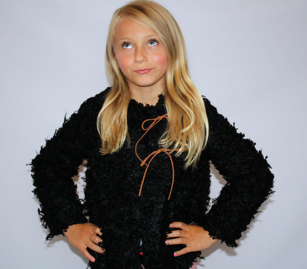 Black Fuzzy Jacket with suede ties and polka dot lining by Anais & I