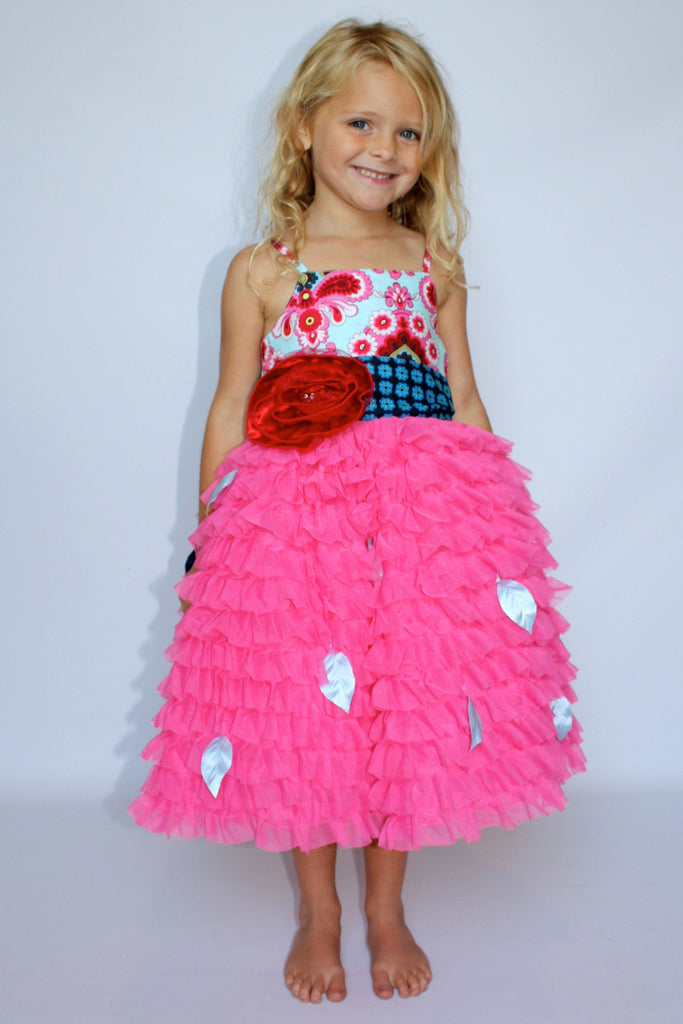 Baby and Toddler GIrl's Magpie & Mabel Primrose Ruffle Special Occasssion Dress On Body Image
