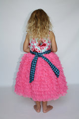 baby and Toddler Girl's Magpie & Mabel Pink Primrose Ruffle Special Occasssion Dress On Body Image