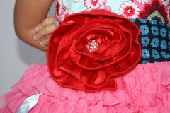 Baby and Toddler Girl's Magpie & Mabel Pink Primrose Ruffle Special Occasssion Dress close up Image