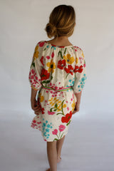 Oversized Poppy Print with rainbow belt Girls Elsa Dress by Pink Chicken back view