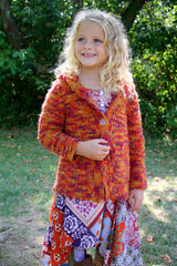 Girl's Super Soft Autumn Harvest Hooded Sweater Coat by Mimi & Maggie Free Shipping Front View