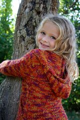 Girl's Super Soft Autumn Harvest Hooded Sweater Coat by Mimi & Maggie Free Shipping Back View