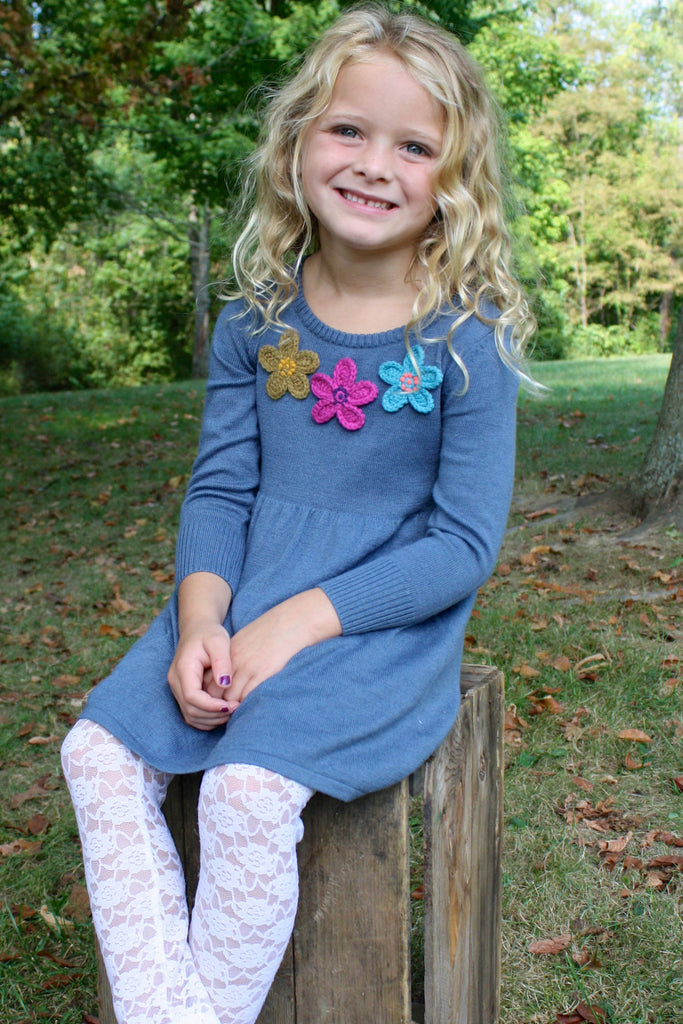 Crochet Flower Little GIrl's Sweater Dress with lacey leggings by Mimi & Maggie Front View