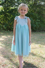 Girl's sparkly Pistachio tulle Rhiana Dress by Anais & I Front View