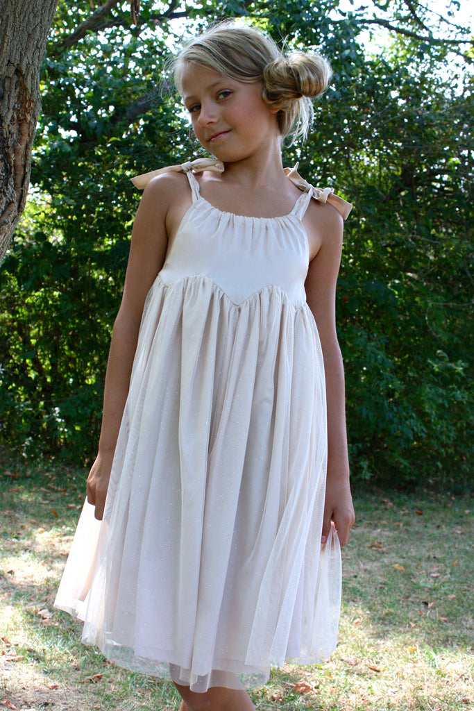 Girl's sparkly Beige tulle Rhiana Dress by Anais & I front