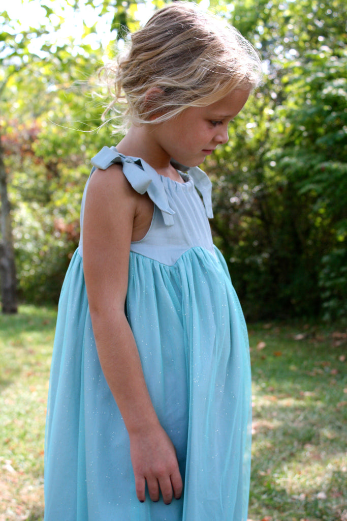 Girl's sparkly Pistachio tulle Rhiana Dress by Anais & I Side View
