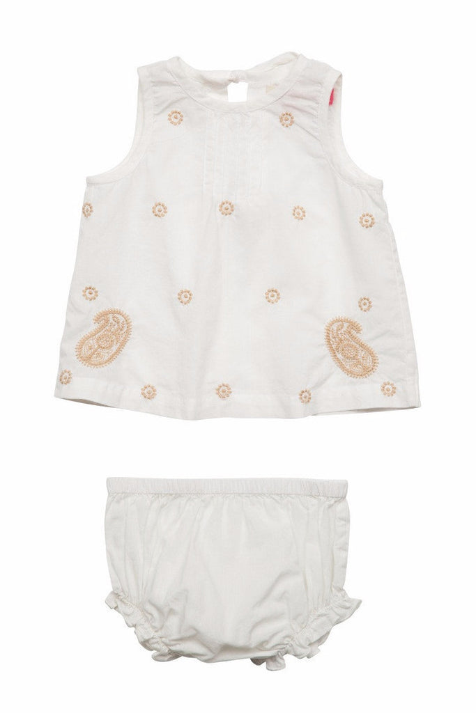 Baby Girl's Jaipur 2 PC by Pink Chicken with Gold Embroidered Dots and Paisleys