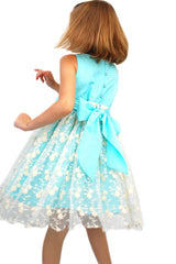 Toddler Girl's Elsa Seafoam and lace Dress by Sophie Catalou back