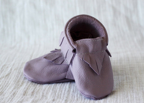 Lovely Lilac Leather Moccasins by Starship for Littles