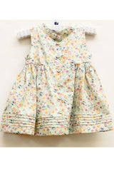 Baby GIrl Pistachio Floral Print Pinagfore Mille Print Dress by Wheat back view