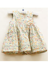 Baby GIrl Pistachio Floral Print Pinagfore Mille Print Dress by Wheat front view