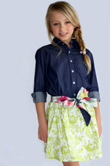 Girl's Green toile Print Milly Skirt by Max & Dora