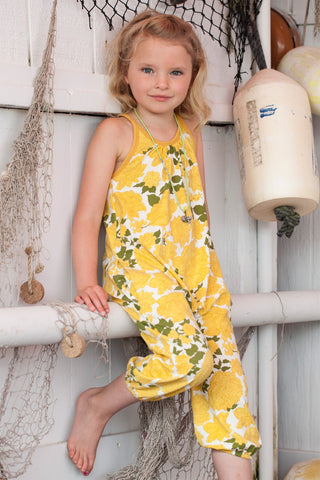 Yellow Floral Romper by Pink Chicken