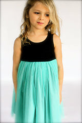 GIrl's Gloria Pistachio and Charcoal Dress by Anais & I lifestyle