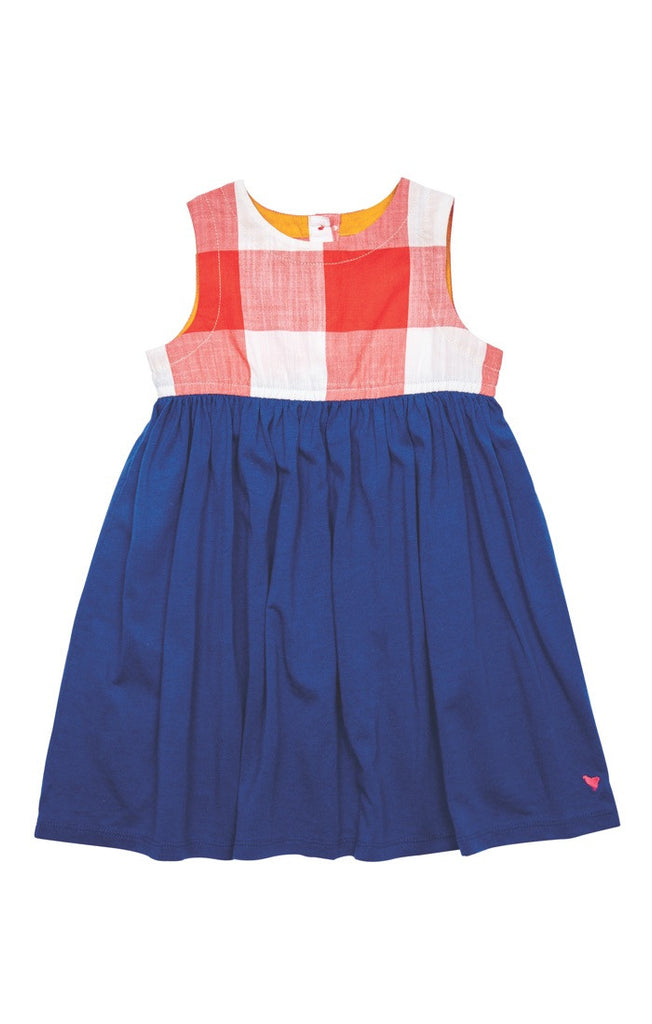 Little Girl's Gingham red, white and blue Megan Dress by Pink Chicken