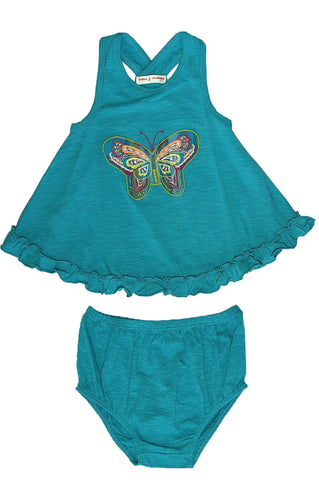 Turq Bright Butterfly 2 PC Set by Mimi & Maggie