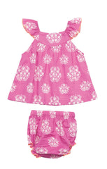 Baby Girl Vibrant Pink Print Cotton Marabelle 2 PC by Pink Chicken Product image