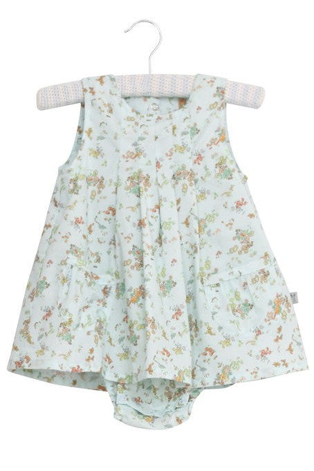 Baby Girl Vintage Baby Blue Print Dress with atached bodysuit by Wheat