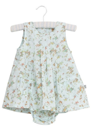 Vintage Baby Blue Print Dress with Bodysuit by Wheat (Baby)