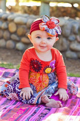 Baby Embroidered Floral and Jewel Toned Bandana Twirl Dress by Mimi & Maggie baby model