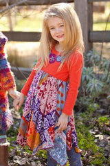 Baby Embroidered Floral and Jewel Toned Bandana Twirl Dress by Mimi & Maggie toddler model