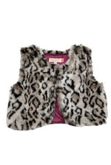 Toddler GIrl's Animal Print Fiona Fur Vest by Pink Chicken