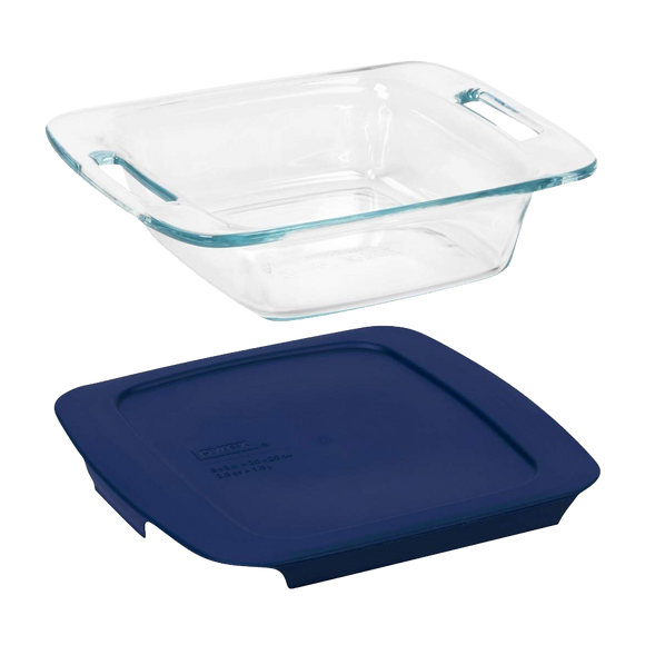 Pyrex-Easy Grab 8in/20cm Sq w Blu PC