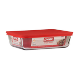 Pyrex-3 PCS Rectangular Simply Storage set with plastic Red lid