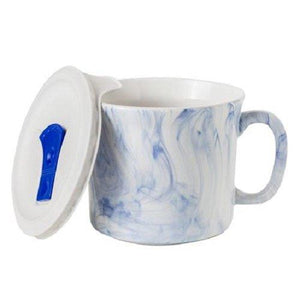 Corningware™ COLOURS® POP INS® 20oz 591ml Mug Mrne Marble With VENTED Plastic LID