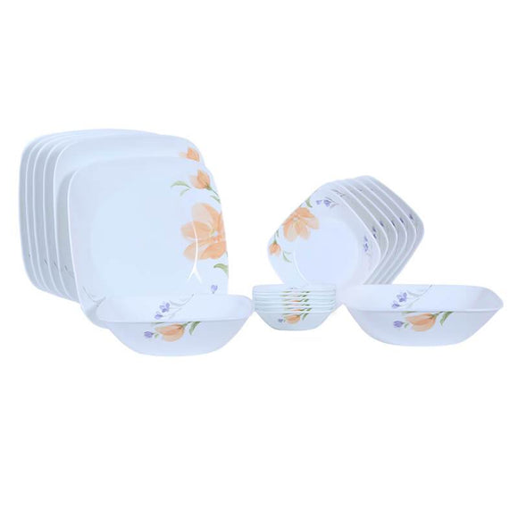 Corelle Square Round Asia Begonia 21pcs Dinner Set