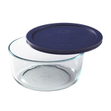 Pyrex-7Cup/1.65L Round with Blue lid