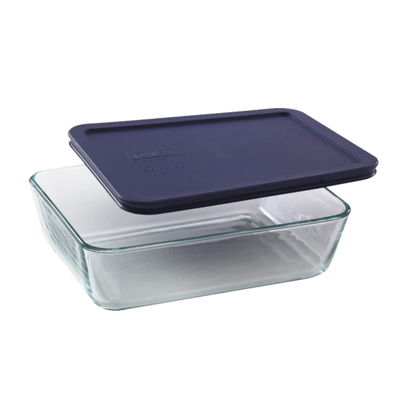 Pyrex-6Cup/1.4L Rectangular with Blue Plastic lid