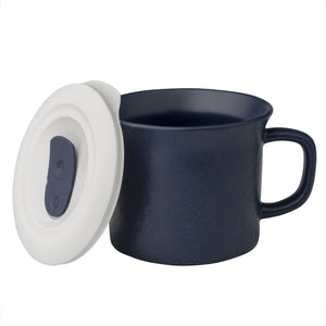 Corningware™ COLOURS® POP INS® 20oz 591ml Mug Hmrd Midnight With VENTED Plastic LID