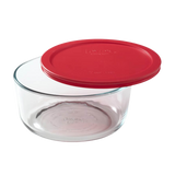 Pyrex-7Cup/1.6L Round Storage with Plastic Red Lid