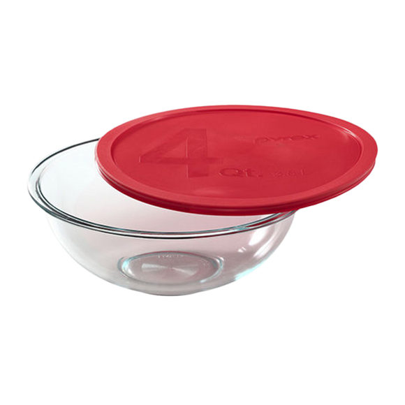 Pyrex- 4qt/3.8L Mixing Bowl with Red Lid