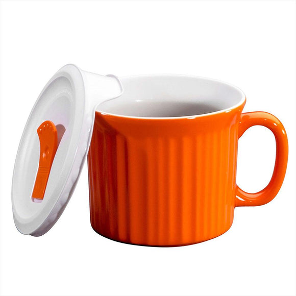 CW by Corningware™ Carrot(orange) COLOURS® POP-INS® 20-OZ MUG With VENTED Plastic LID