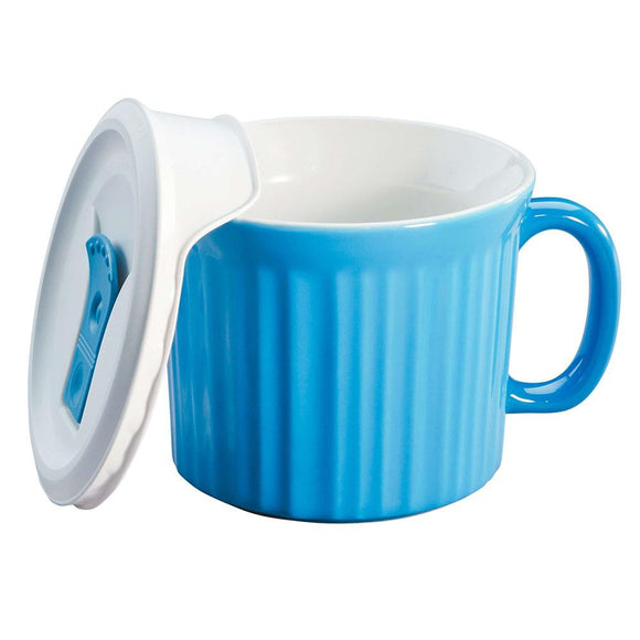 CW by Corningware™ Pool Blue(Blue) COLOURS® POP-INS® 20-OZ MUG With VENTED Plastic LID