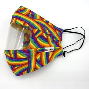 Rainbow Clear View Face Mask Side View