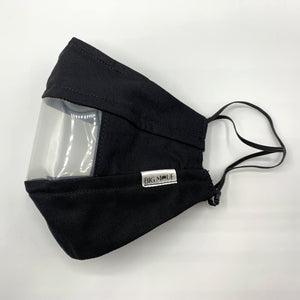 Black Clear View Face Mask Side View
