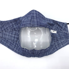 Load image into Gallery viewer, Navy White Crosshatch Clear View Face Mask Front View