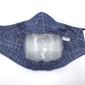 Navy White Crosshatch Clear View Face Mask Front View