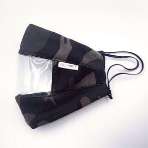 Black Camo Canvas Clear View Face Mask Side View