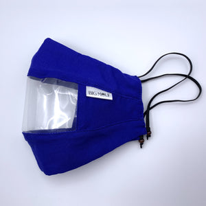 Royal Blue Clear View Face Mask Side View