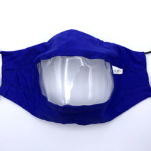 Load image into Gallery viewer, Royal Blue Clear View Face Mask Front View