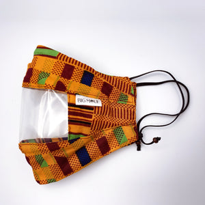 Golden Kente Clear View Face Mask Side View