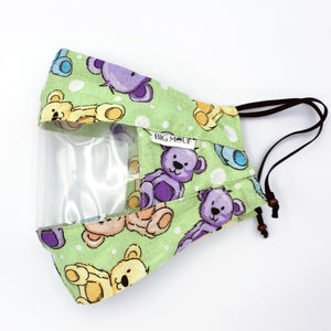Teddy Bears Clear View Face Mask Side View