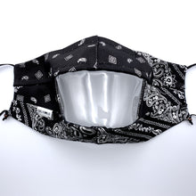 Load image into Gallery viewer, Black Bandana Clear View Face Mask Front View