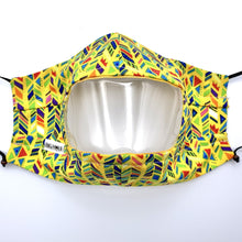 Load image into Gallery viewer, Yellow Technicolor Plait Clear View Face Mask Front View